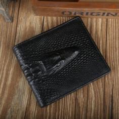 Portofel piele ecologica aspect crocodil negru incapator - Portofel Barbati, Coffee
