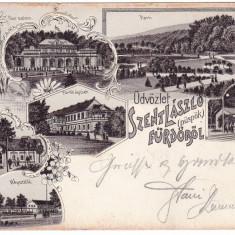 #1723- Romania, Szt Laszlo (puspok) furdo, Baile 1 Mai, c.p. multipla circ. 1900 - Carte Postala Crisana pana la 1904, Circulata, Fotografie, Oradea