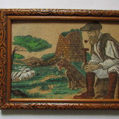 TABLOU-pe scoarta de stejar(pluta)-PASTOR-inramat, semnat - Tablou autor neidentificat