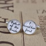Butoni pentru camasa cu text nunta personalizat + cutie simpla cadou