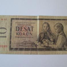 CEHOSLOVACIA 10 KORUN 1960 - bancnota europa
