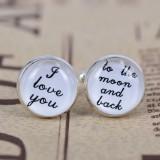 Butoni camasa cu text declaratie dragoste + cutie simpla cadou