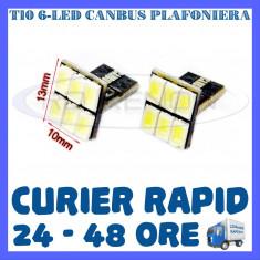 BEC AUTO LED LEDURI T10 W5W - 6 SMD 5730 CANBUS FARA EROARE - NUMAR PLAFONIERA