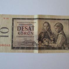 CEHOSLOVACIA 10 KORUN 1960 AUNC - bancnota europa