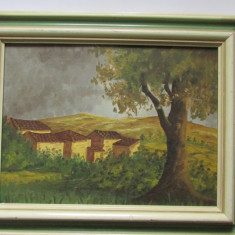 TABLOU-PEISAJ-inramat, ulei pe panza - Tablou autor neidentificat, Peisaje, Realism