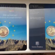Moneda ANDORRA 2 euro comemorativa 2014 - 20 ani Consiliul EU (coin card), Europa, Cupru-Nichel