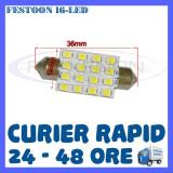 BEC AUTO LED LEDURI - SOFIT FESTOON C5W  - 36 mm 16 SMD - PLAFONIERA, NUMAR, Universal, ZDM