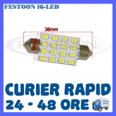 BEC AUTO LED LEDURI - SOFIT FESTOON C5W - 36 mm 16 SMD - PLAFONIERA, NUMAR