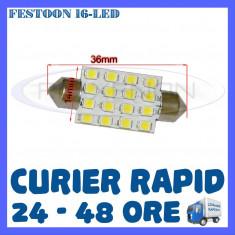 BEC AUTO LED LEDURI - SOFIT FESTOON C5W - 36 mm 16 SMD - PLAFONIERA, NUMAR - Led auto ZDM, Universal