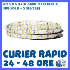 ROLA BANDA 300 LED LEDURI SMD 5630 ALB RECE - 5 METRI, IMPERMEABILA (WATERPROOF) - Banda LED ZDM