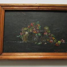 TABLOU-VAZA CU FLORI-ulei pe panza, rama lemn, semnat - Tablou autor neidentificat, Natura statica, Realism