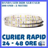 ROLA BANDA 300 LED LEDURI SMD 5630 ALB CALD - 5 METRI, IMPERMEABILA (WATERPROOF)