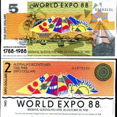 !!! AUSTRALIA - LOT 2 + 5 DOLARI WORLD EXPO 1988 - UNC