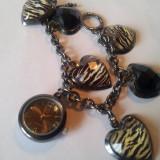 Ceas de dama NY&C stil  bratara  cu inimioare, Casual, Quartz, Metal necunoscut