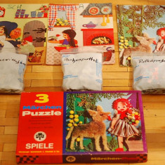 Puzzle vintage 3x1 povesti fratii Grimm anii '70, West Germany, 30 piese fiecare