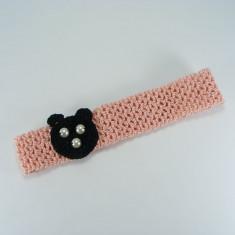 Bentita roz pal cu ursulet negru de fetite crosetata manual Buticcochet