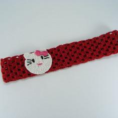 Bentita rosie Pisicuta de fetite crosetata manual Buticcochet
