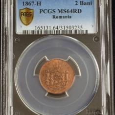 ROMANIA - 2 BANI 1867 HEATON - MS 64 RD PCGS - PROOF - RAR - MONEDA DE COLECTIE - Moneda Romania, Bronz