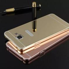 Bumper de aluminiu cu spate acril tip oglinda Samsung Galaxy A5, model 2016 - Bumper Telefon, Negru