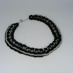 Colier negru cu argintiu de dama crosetat manual Buticcochet - Colier fashion