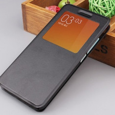 Husa Xiaomi Redmi Note S-VIEW Neagra - Husa Telefon Xiaomi, Negru, Piele Ecologica, Cu clapeta, Toc