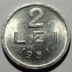 2 Lei 1951 Al Romania, a UNC, Luciu de batere - Moneda Romania, Aluminiu
