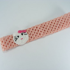 Bentita roz pal Pisicuta de fetite crosetata manual Buticcochet