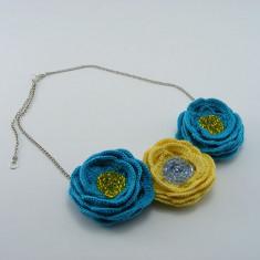 Colier de dama crosetat manual Flori de primavara Buticcochet - Colier fashion