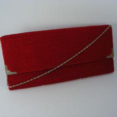 Geanta plic rosie de dama crosetata manual Buticcochet - Geanta Dama, Rosu, Bumbac