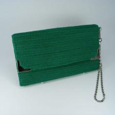 Geanta plic verde de dama crosetata manual Buticcochet - Geanta Dama, Bumbac