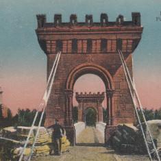 CRAIOVA, PARCUL BIBESCU PODUL SUSPENDAT, CIRCULATA AUG. ''925 - Carte Postala Oltenia dupa 1918, Printata