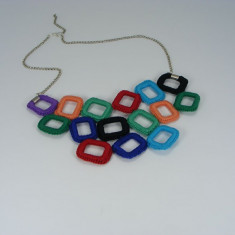 Colier Rainbow de dama crosetat manual Buticcochet - Colier fashion