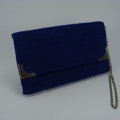 Geanta plic albastra de dama crosetata manual Buticcochet - Geanta Dama, Albastru, Bumbac