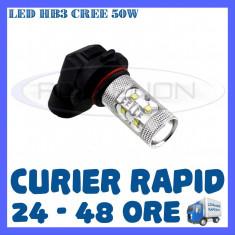 BEC AUTO LED LEDURI HB3 CREE 50W LUMINI DE ZI DRL FAZA LUNGA (FLASH) PROIECTOARE