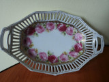 Fructiera portelan Bavaria cu trandafiri si model perforat, Decorative