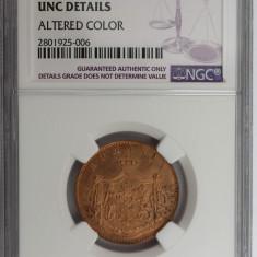 ROMANIA - 5 BANI 1867 HEATON UNC DETAILS GRADATA NGC - Moneda Romania, Bronz