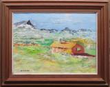 Cabana in mijlocul campului - semnat  A.Carleton