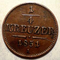 A.029 AUSTRIA 1/4 KREUZER 1851 A, Europa, Cupru (arama)