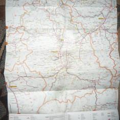 Harta Judetului Hunedoara - Pliant turistic 1979