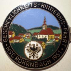 5.248 PLACHETA AUTO GERMANIA ADAC CLUB AUTO MSC ROHRNBACH 1951 51mm email, Europa