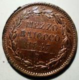 G.085 ITALIA VATICAN PAPA PIUS IX 1/2 MEZZO BAIOCCO 1847 B XF/AUNC, Europa, Cupru (arama)