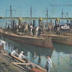 GALATI TORPILOARE DE DUNARE IN PORT, CIRCULATA IAN.''39 - Carte Postala Moldova dupa 1918, Printata