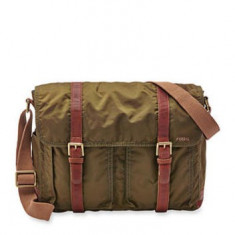 GEANTA FOSSIL  WASHED NYLON MESSENGER  OLIVE, Servieta