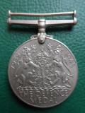 """Medalie englezeasca ,,The Defence Medal"""", ww2, 1939-1945"""