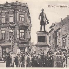 GALATI, STATUIA COSTACHE NEGRI, ANIMATIE, BANCA DE SCONT, MASINA EPOCA - Carte Postala Moldova 1904-1918, Stare: Necirculata, Tip: Printata