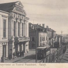 GALATI, STRADA BRASOVENIEI CU TEATRUL PAPADOPOL, TRAMVAI - Carte Postala Moldova 1904-1918, Stare: Necirculata, Tip: Printata