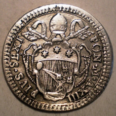 G.324 ITALIA VATICAN PAPA PIUS VI GROSSO GROS (1787) XIII ARGINT 1, 3g/19mm - Moneda Medievala, Europa