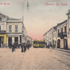 GALATI, SUVENIR DIN GALATI, STRADA PORTULUI - BURSA, TRAMVAIE - Carte Postala Moldova 1904-1918, Stare: Circulata, Tip: Printata