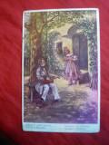 Ilustrata Schubert si Johanna ,cenzurata ,stamp. Postei Militare nr 267 Oradea, Circulata, Printata