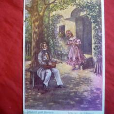 Ilustrata Schubert si Johanna, cenzurata, stamp. Postei Militare nr 267 Oradea - Carte postala tematica, Circulata, Printata